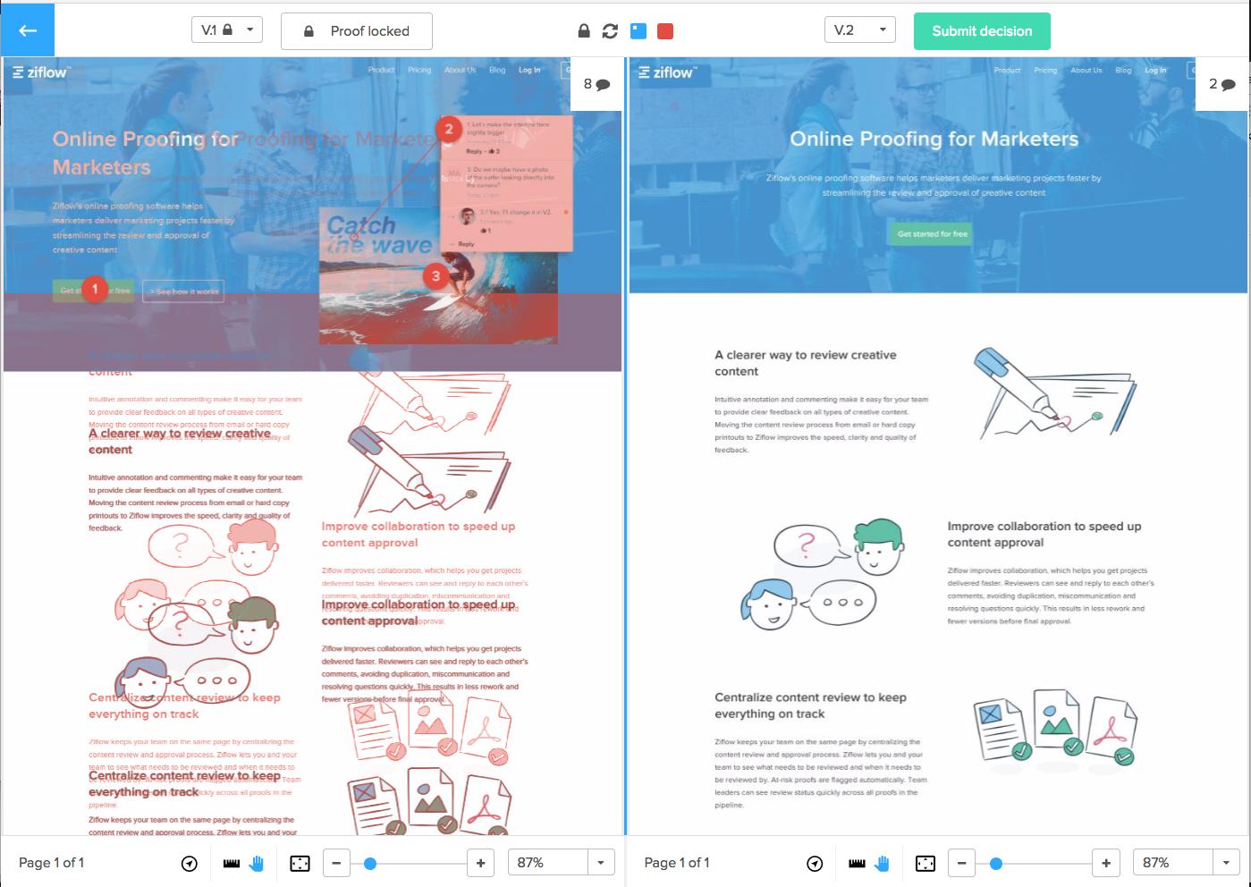 ziflow-online-proofing-compare-mode