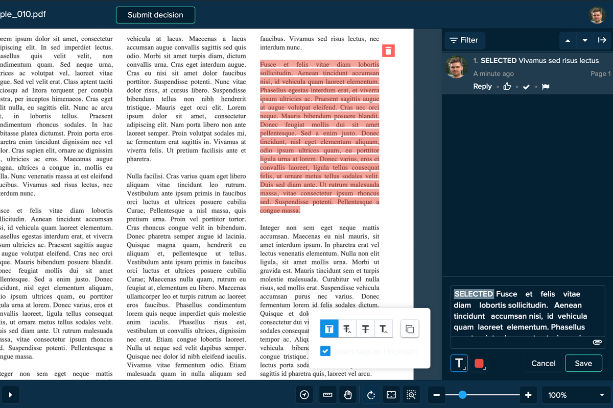 Text Selection Annotation