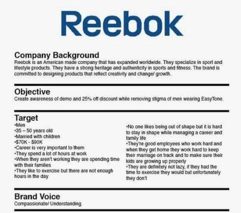 Reebok Creative Brief Example